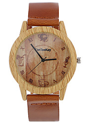 cheap -Top brand Men's Bamboo Wooden Bamboo Watch Quartz Leather Strap Men Watches relojes mujer