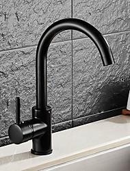 Недорогие -кухонный смеситель - Одной ручкой одно отверстие Начищенная бронза Стандартный Носик Чаша Античный Kitchen Taps