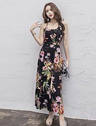 Women's Beach Boho T Shirt Dress,Floral V Neck Maxi Sleeveless Cotton Spring Summer Low Rise Micro-elastic Thin