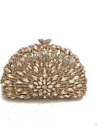 Mulher Bolsas Todas as Estações Couro Ecológico Metal Bolsa de Mão Cristal / Strass Flor para Casamento Festa/Eventos Formal Champanhe