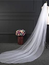 baratos -Duas Camadas Corte da borda Véus de Noiva Véu Catedral Com Pérolas Tule