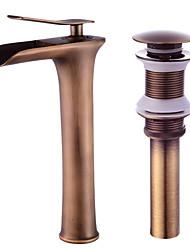 Недорогие -Современный По центру Водопад Керамический клапан Одной ручкой одно отверстие Античная медь , Ванная раковина кран