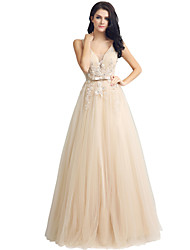 cheap -Sheath / Column Plunging Neckline Floor Length Lace Tulle Formal Evening Dress with Beading Lace by Sarahbridal