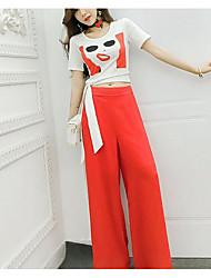 T-shirt Pantalone Completi abbigliamento Da donna Per uscire Casual Semplice Moda città Estate,Con stampe Manica corta