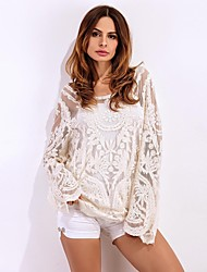 Women's Going out Beach Party Sexy Simple Street chic Summer Fall Shirt,Solid Round Neck Long Sleeve Spandex Medium