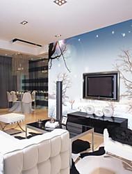 Árvores/Folhas 3D Papel de Parede Para Casa Contemporâneo Revestimento de paredes , Tela Material adesivo necessário Mural , Cobertura