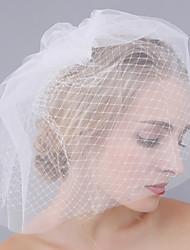 abordables -velos de colorete de velo de novia de dos niveles con tul accesorios de boda neta