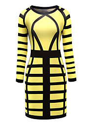 Women's Casual/Daily Party Club Sexy Street chic Color Block Over Hip Bodycon DressPrint Round Neck Above Knee Long Sleeve Spring Fall High Rise