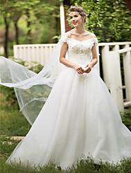 Ballkleid off-the-Schulter Boden Länge Spitze Tüll Brautkleid mit Blume von huaxirenjiao