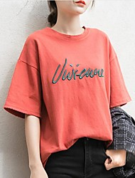 Women's Going out Casual/Daily Vintage Simple Spring Summer T-shirt,Embroidered Round Neck Short Sleeve Polyester Medium
