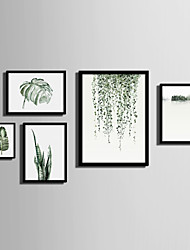 cheap -Framed Canvas Framed Set Landscape Floral/Botanical Wall Art, PVC Material With Frame Home Decoration Frame Art Living Room Bedroom