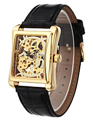 cheap -WINNER® Men's Square Gold Dial Black Leather Band Manual Mechanical Skeleton Wrist Watch Cool Watch Unique Watch Fashion Watch