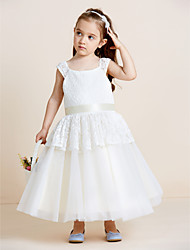 A-Line Tea Length Flower Girl Dress - Lace Tulle Sleeveless Straps with Draping by thstylee