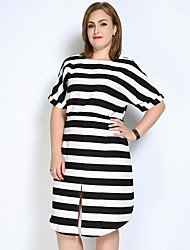 cheap -Really Love Women's Plus Size Vintage Cute Loose Shift Black and White Dress - Striped Color Block, Split