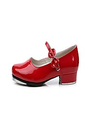 "Women's Tap Patent Leather Heel Indoor Bow(s) Low Heel Red 1"" - 1 3/4"" Non Customizable"