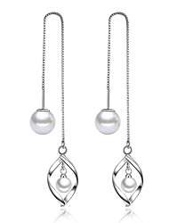 cheap -Women's Leaf Imitation Pearl Drop Earrings - Unique Design Silver Earrings For Wedding / Party / Daily