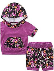 Set Da ragazza Cotone Leopardo Monocolore Estate Pantaloni corti Completo