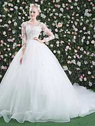 cheap -Ball Gown Illusion Neckline Chapel Train Lace Tulle Wedding Dress with Beading Appliques by QZ