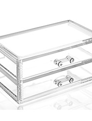 cheap -Acrylic Complex Combined Large Capacity Quadrate Double 2 Layer Makeup Cosmetics Storage Drawer Organizer