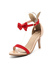 cheap -Women's Sandals Summer Club Shoes Comfort Novelty PU Silk Wedding Party & Evening Dress Stiletto Heel Bowknot Buckle Green Red Black White