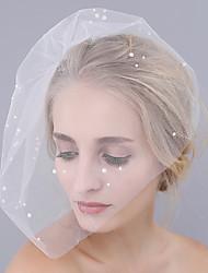 abordables -1 capa Corte de borde Velos de Boda Corto o Blusher Con Perla Tul