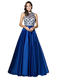 Ball Gown Halter Floor Length Satin Formal Evening Dress with Beading by Sarahbridal