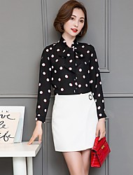 Women's Going out Casual/Daily Work Sexy Vintage Cute All Seasons Summer Blouse,Polka Dot Crew Neck Long Sleeve Rayon Medium