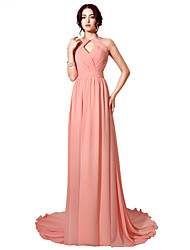 cheap -Sheath / Column Halter Floor Length Court Train Chiffon Formal Evening Dress with Beading Pleats Criss Cross by Sarahbridal