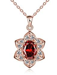 Femme Pendentif de collier Colliers chaînes Cristal Opale synthétique Forme de Fleur Forme Géométrique Cristal Verre Plaqué Or Rose 18K