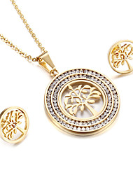 Women's Jewelry Set Friendship Fashion Euramerican USA British Classic Stainless Steel Tree of Life 1 Necklace 1 Pair of Earrings For