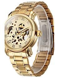 baratos -Homens Relógio de Pulso / relógio mecânico Gravação Oca Aço Inoxidável Banda Luxo Dourada / Automático - da corda automáticamente