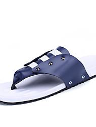 abordables -Hombre Suelos ligeros Cuero / Microfibra Primavera / Verano Confort / Talón Descubierto Zapatillas y flip-flops Agua Naranja / Marrón / Azul