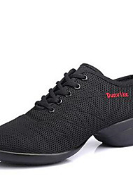cheap -Women's Dance Shoes Fabric Fabric Dance Sneakers / Modern Sneakers Low Heel Outdoor  Black/Black-Red