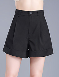cheap -Women's Plus Size High Rise Wide Leg Shorts Pants, Casual Solid Cotton Summer