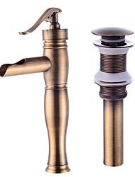 baratos -Moderna Conjunto Central Separada Válvula Cerâmica Monocomando e Uma Abertura Cobre Envelhecido, Faucet Set