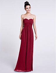 cheap -Sheath / Column Sweetheart Floor Length Chiffon Bridesmaid Dress with Criss Cross by LAN TING BRIDE®