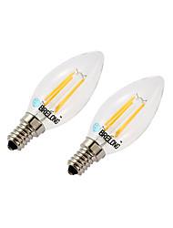 economico -BRELONG® 2pcs 4W 377lm E14 Lampadine LED a incandescenza C35 4 Perline LED COB Oscurabile Bianco caldo Bianco 220-240V