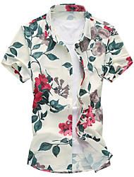 cheap -Men's Daily Casual Summer Shirt,Floral Classic Collar Short Sleeves Cotton Rayon Thin