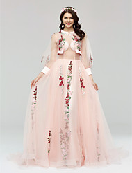 A-Line Illusion Neckline Court Train Tulle Formal Evening Dress with Appliques Bandage by Huaxirenjiao