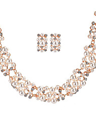 cheap -Women's Necklace/Earrings Bridal Jewelry Sets Imitation Pearl Rhinestone Luxury Rhinestones Imitation Pearl Fashion Bridal Wedding Party