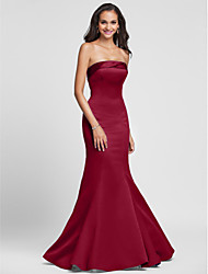 cheap -Mermaid / Trumpet Strapless Floor Length Satin Bridesmaid Dress with Side Draping by LAN TING BRIDE®
