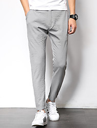 Men's Low Rise Micro-elastic Chinos Sweatpants Pants,Slim Solid