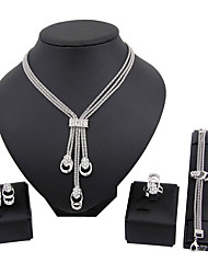 cheap -Women's Rhinestone Silver Plated Jewelry Set Rings / 1 Necklace / 1 Pair of Earrings - Classic / Euramerican / Fashion Square Silver