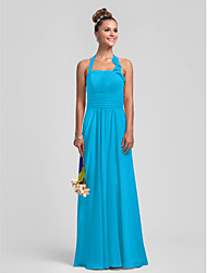cheap -Sheath / Column Halter Floor Length Chiffon Bridesmaid Dress with Draping Pleats Ruched Ruffles by LAN TING BRIDE®