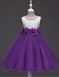 cheap -Ball Gown Short / Mini Flower Girl Dress - Organza Sleeveless Jewel Neck with Beading by YDN