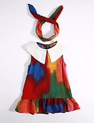 baratos -Menina de Vestido Diário Estampa Colorida Verão Algodão Floral Roxo