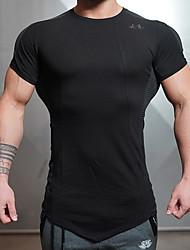 Herrn Laufshirt Kurzarm Rasche Trocknung Atmungsaktiv Oberteile für Yoga Rennen Übung & Fitness Baumwolle Schlank Schwarz Grau M L XL XXL