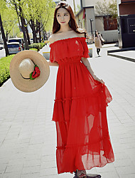 DABUWAWA Women's Going out Beach Holiday Boho Street chic Sophisticated Sheath Chiffon Swing DressSolid Off Shoulder Maxi Short Sleeve
