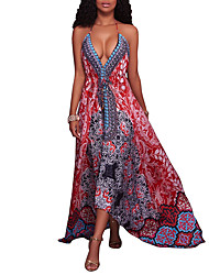cheap -Women's Going out Club Holiday Vintage Sexy Boho Sheath Dress,Print Halter Maxi Sleeveless Polyester Spring Summer High Rise Micro-elastic