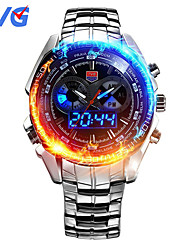 cheap -TVG KM-468 Men's Luxury Strap Watch Analog-digital Multifunctional LED Noctilucent Two Time Zones Calendar 50M Water Resistant Sport Wrist Watch